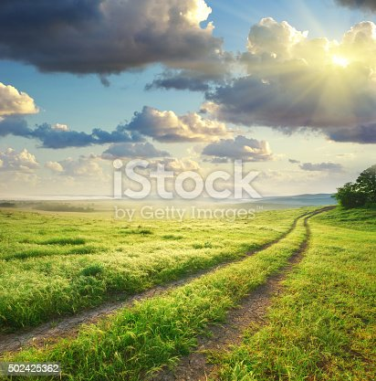 istock Road lane and deep morning sky. 502425362