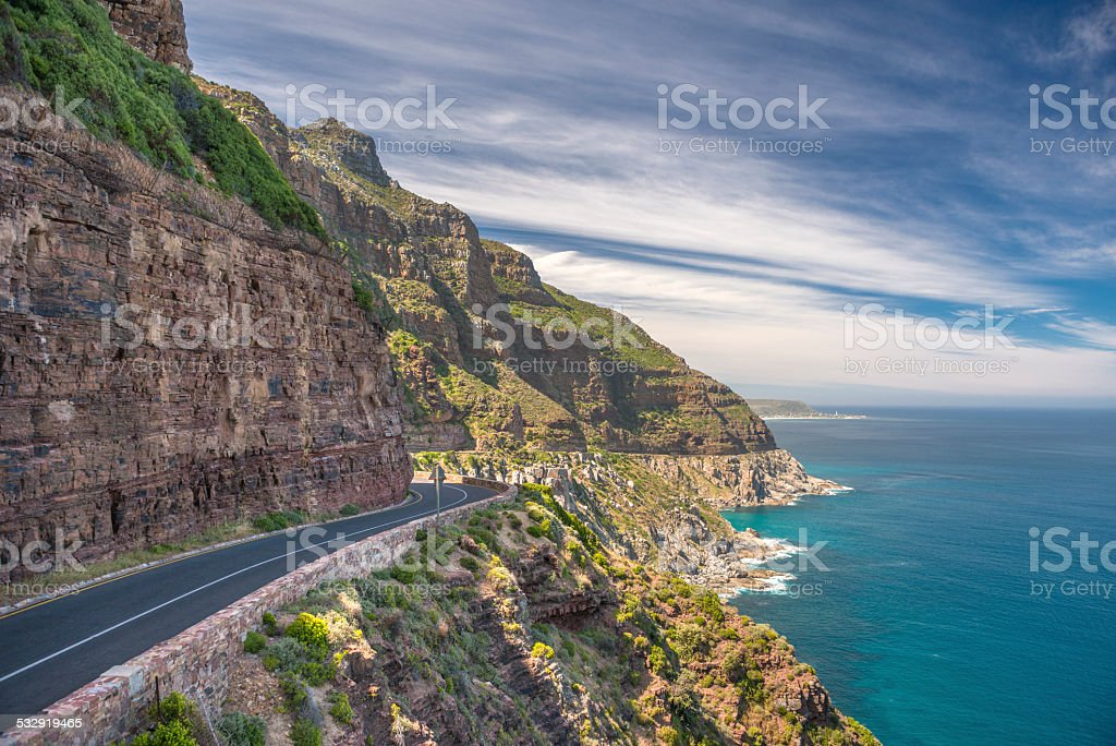 Road (M6) leading to Cape Point, Cape Town, South Africa stock photo