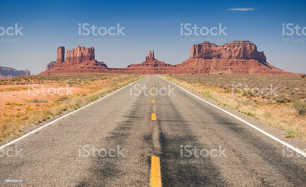 Road leading to Monument Valley stock photo
