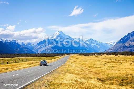 View of road trip car , road leading to mount cook national park, South Island New Zealand