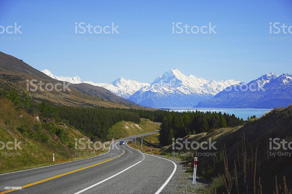 Road leading to Mt. Cook, New Zealand stock photo