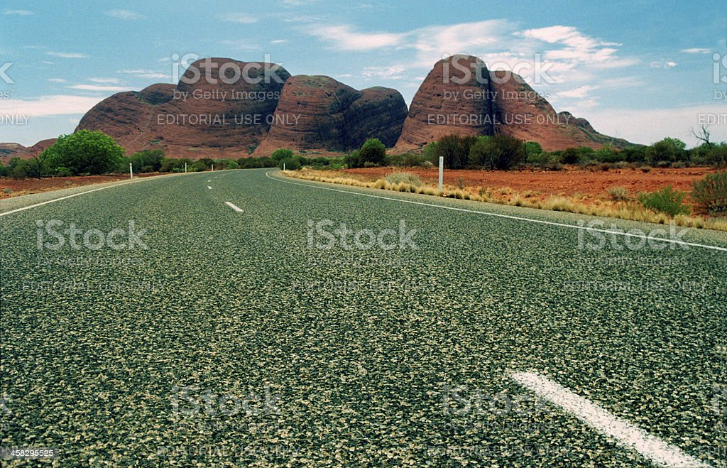 road leading to the olgas, northern territory australia stock photo