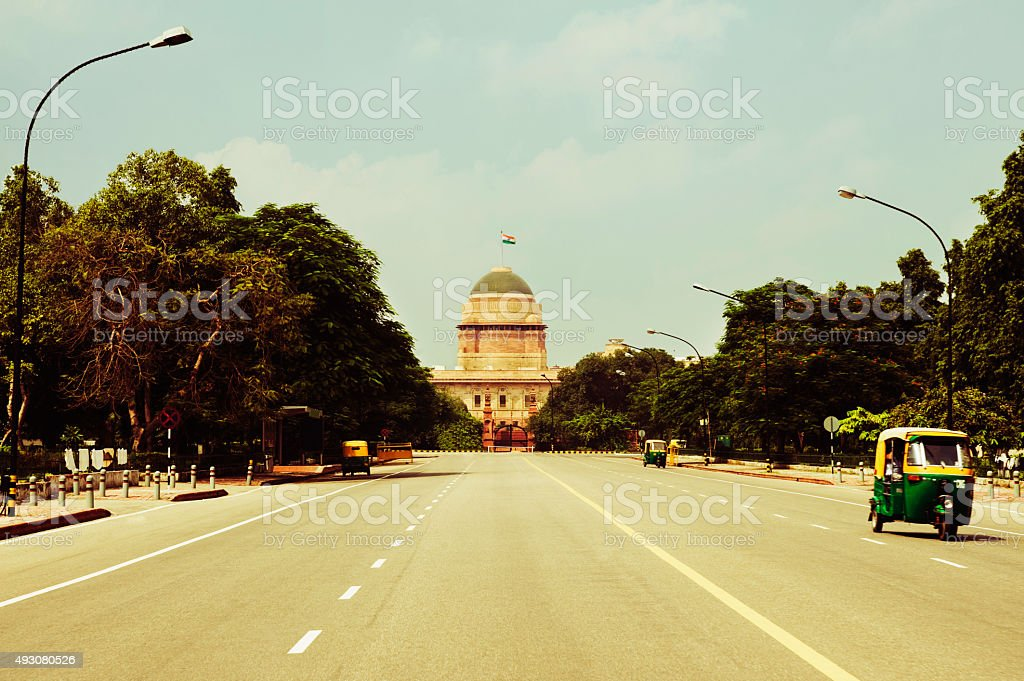 Road leading towards a government building stock photo
