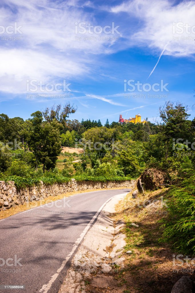 Road leads to Pena Palace atop the hills of Sintra, Portugal - Royalty-free 19th Century Stock Photo