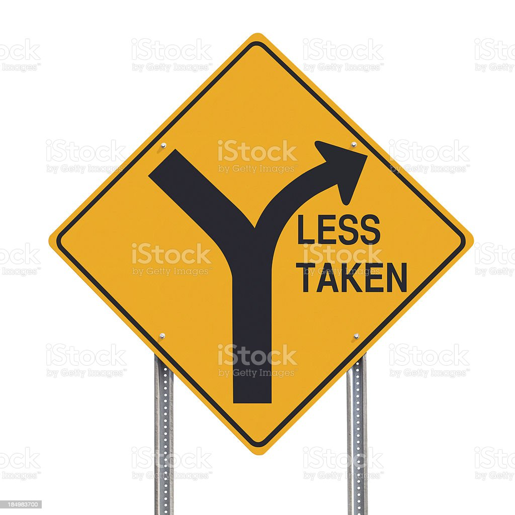 Road Less Taken Sign Isolated royalty-free stock photo
