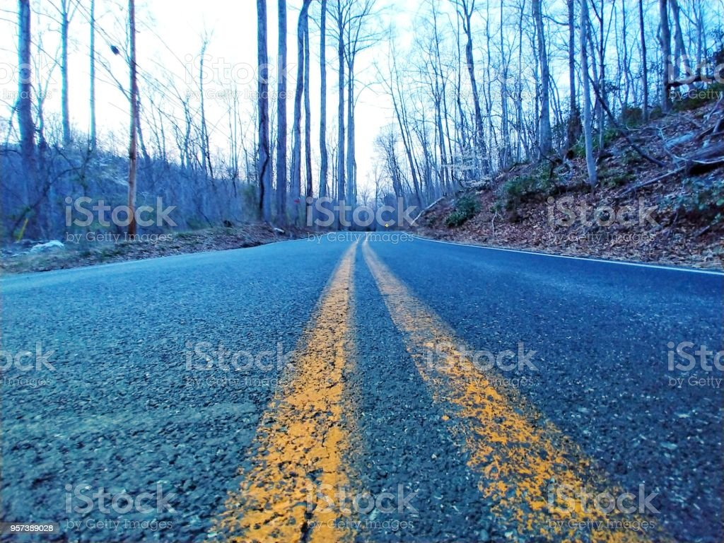 A road less traveled stock photo