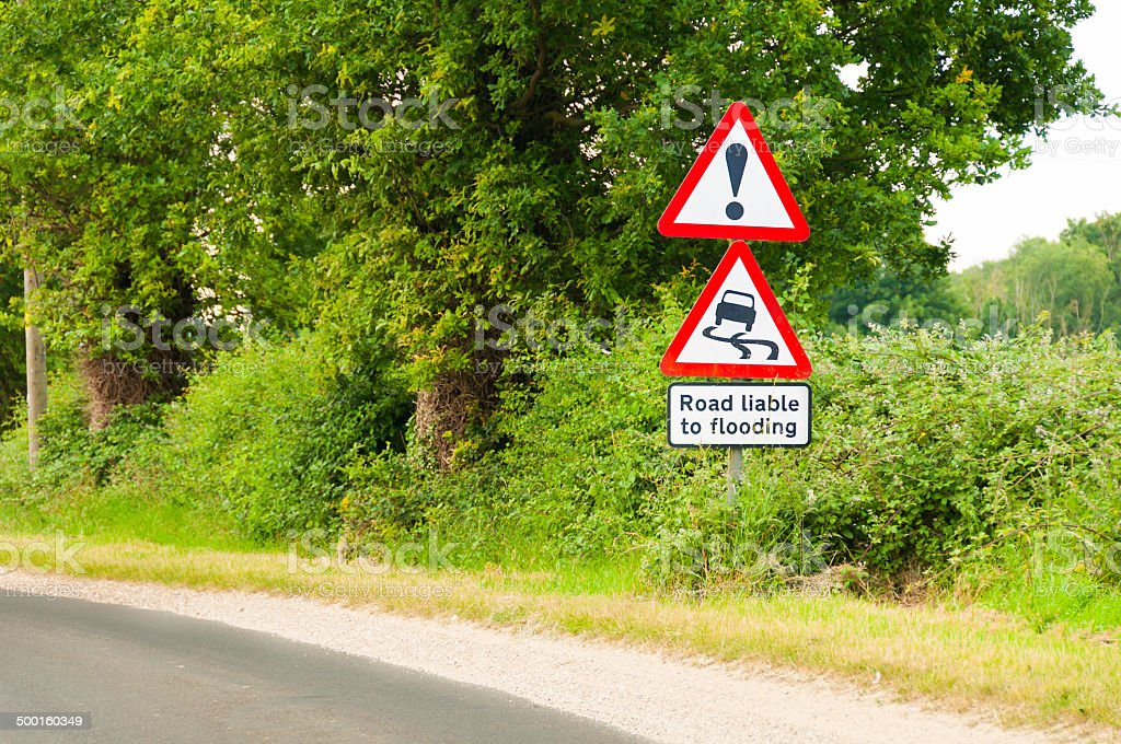 Road liable to flooding warning sign on countryside road royalty-free stock photo