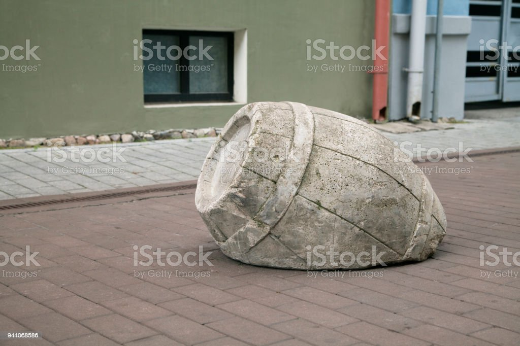 Road limiter in the shape of a barrel, Tartu stock photo