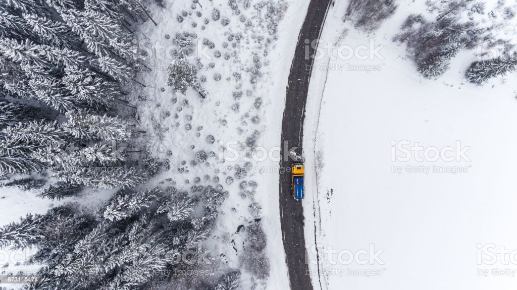 Road maintance in the winter stock photo