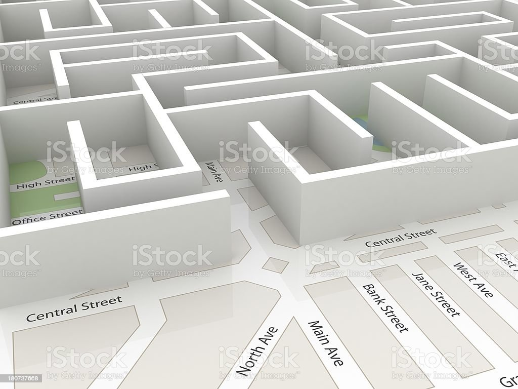 Road map Labyrinth royalty-free stock photo
