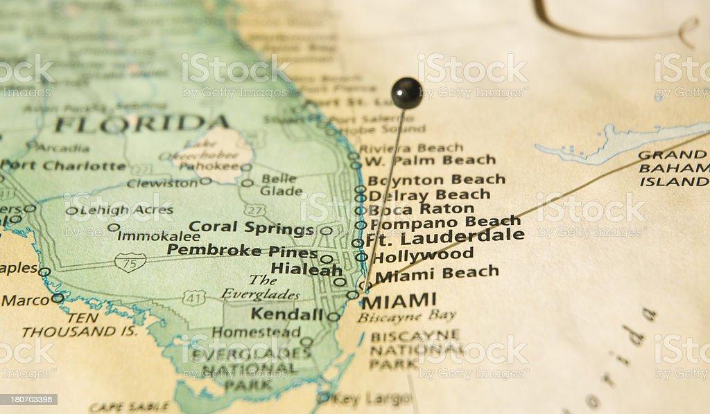 Road Map Macro Of Miami Florida And Atlantic Coastline stock photo