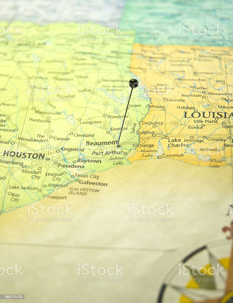 Map Of Beaumont Texas.Road Map Of Beaumont And Houston Texas Macro Stock Photo Istock