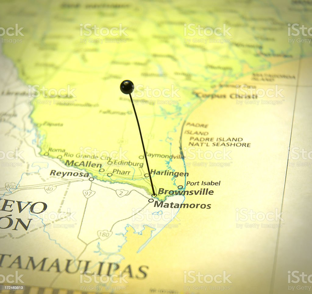 Road Map Of Brownsville Texas And Matamoros Mexico Stock Photo