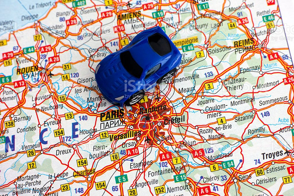 Downloadable Road Map Of France.Road Map Of France With Car Stock Photo Download Image Now Istock