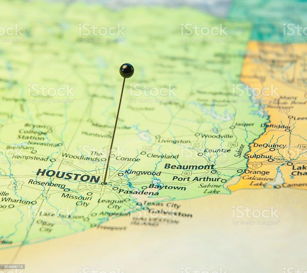 Road Map Of Houston Texas And Port Arthur stock photo
