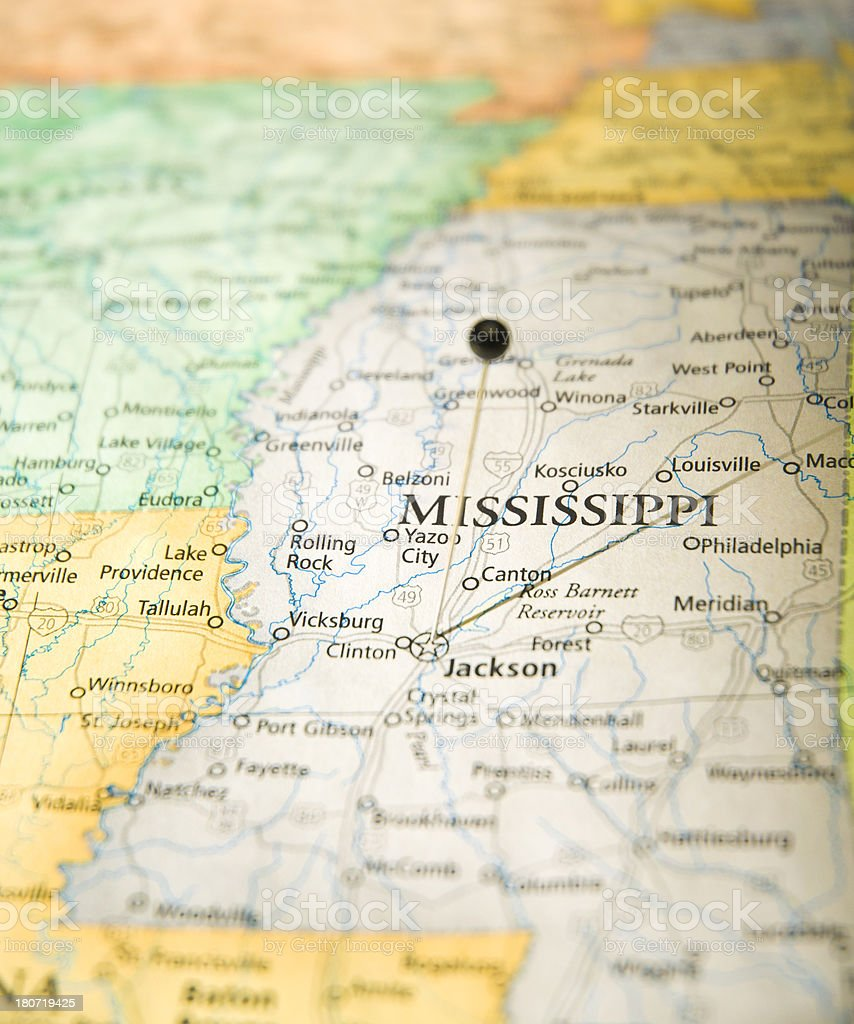 Road Map Of Jackson Mississippi With Travel Pin stock photo