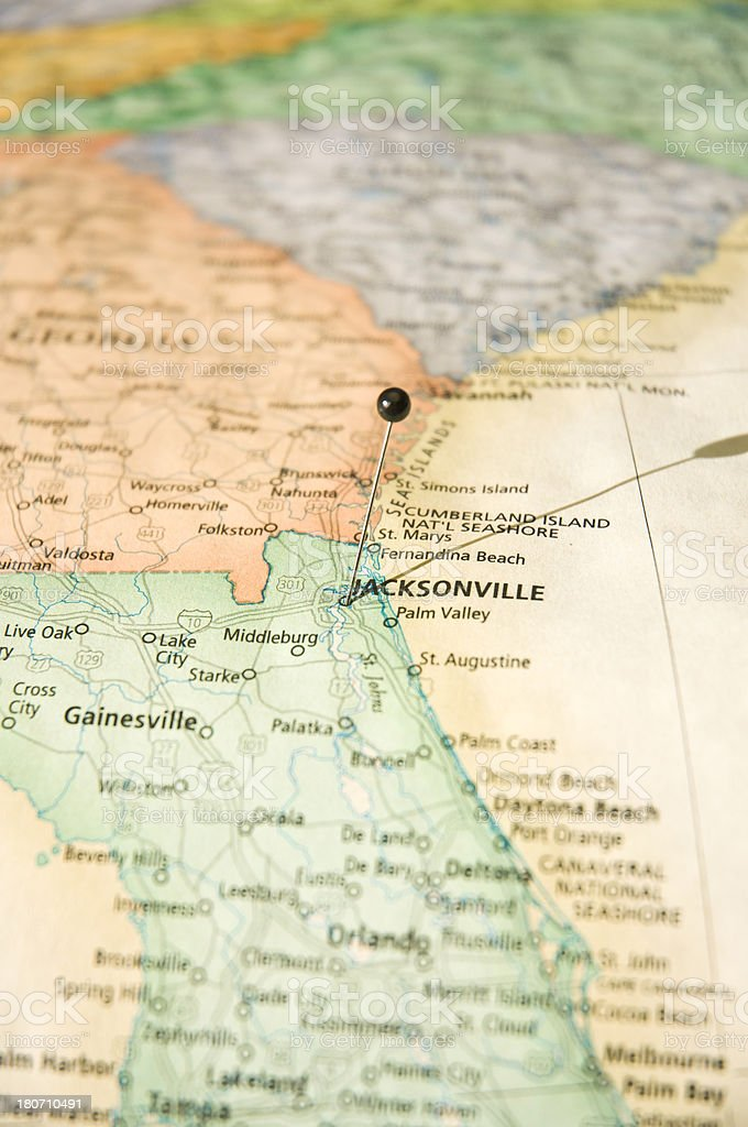 Road Map Of Jacksonville Florida And Georgia Borders Stock Photo