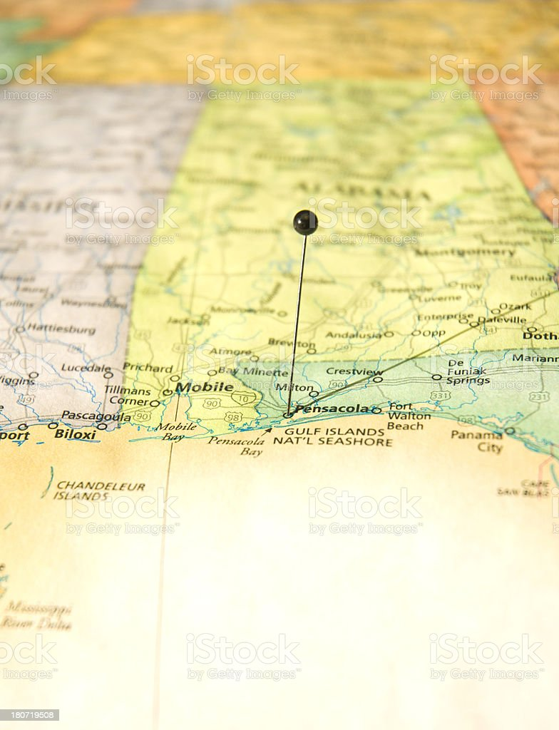Map Of Pensacola Florida.Road Map Of Pensacola Florida And Gulf Coast Macro Stock Photo