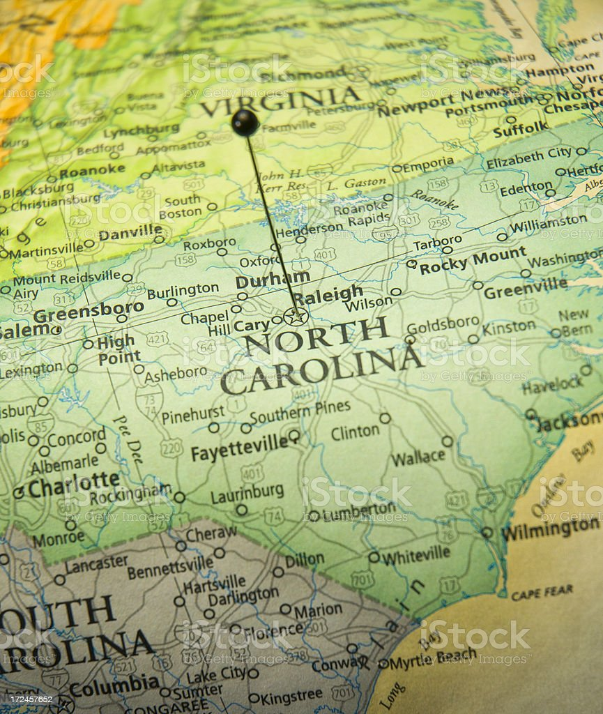 Road Map Of State Capitol Raleigh North Carolina stock photo