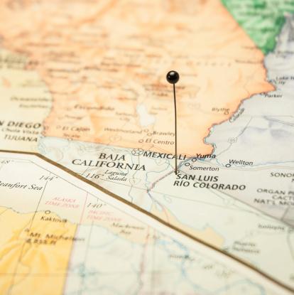Road Map San Luis Rio Colorado California Mexico Border Stock Photo More Pictures Of Cartography Istock