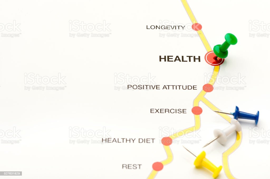 Road map to health concept stock photo