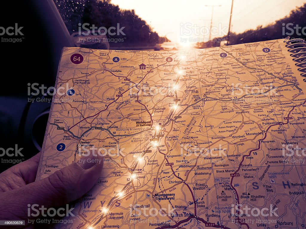 Road Map With Illuminated Trail Of Lights stock photo