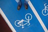 Road mark for bikes lane
