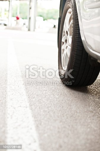 Road Marking And Car Tire