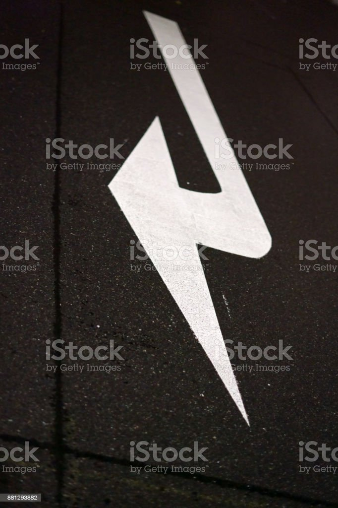 Road marking at night stock photo