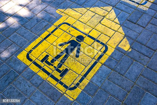 istock Road marking, sign: lane, descent for gyroscooter 828133254