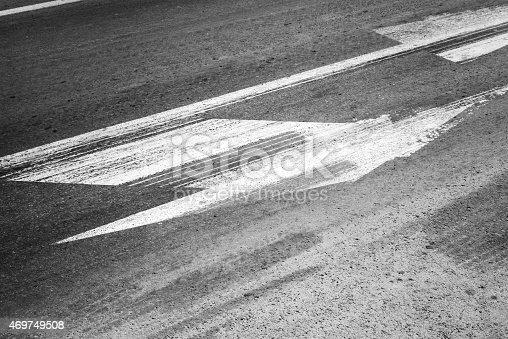 833130962 istock photo Road marking with tire tracks on asphalt 469749508