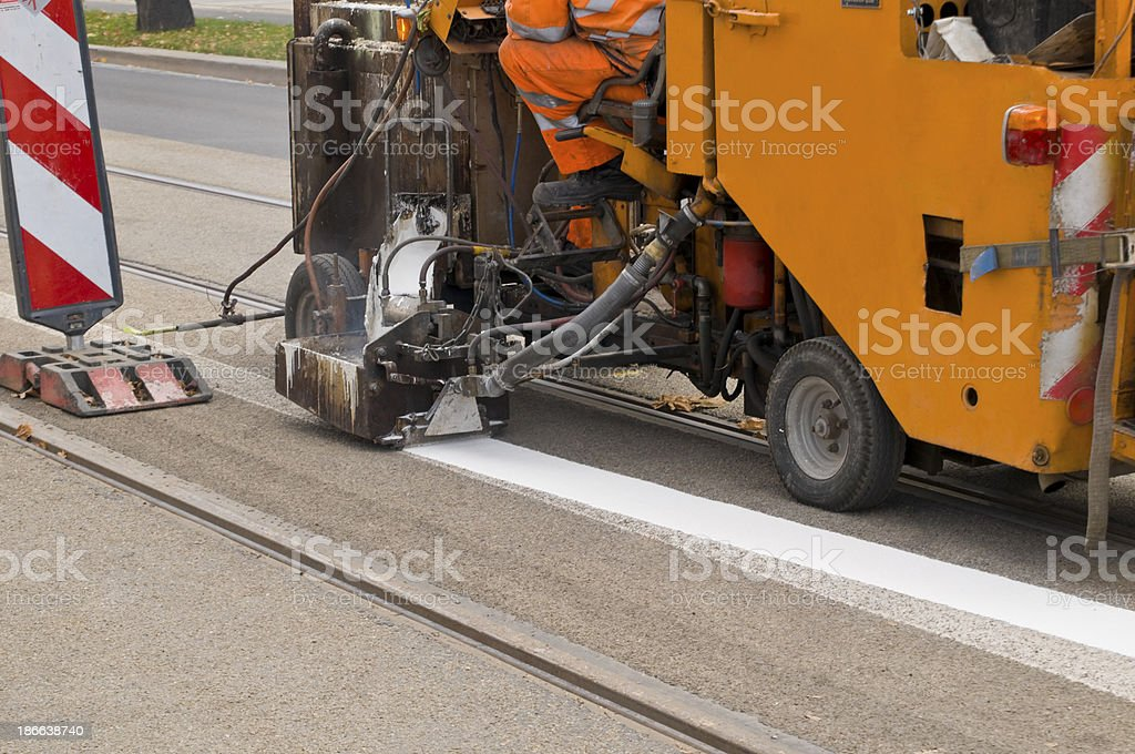 Road marking work stock photo