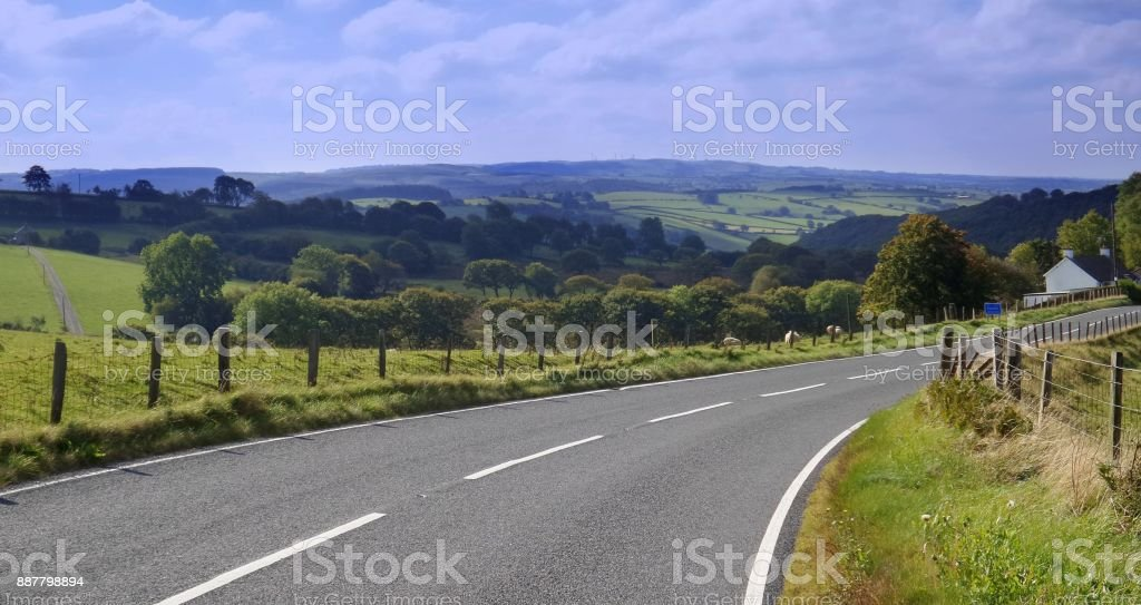 Road mid wales stock photo