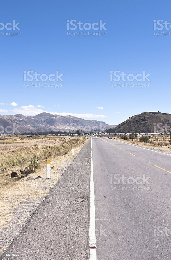 Road. Mountains in Background stock photo