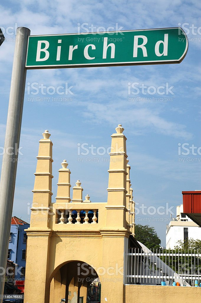 Road name - BIRCH RD stock photo