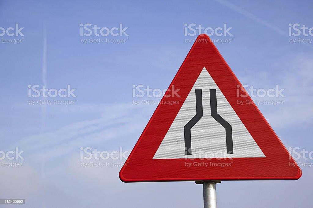 Road narrow sign # 2 XXXL stock photo