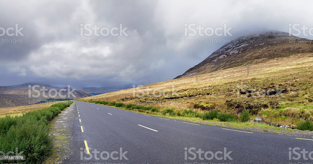 Road near the Errigal mountain stock photo