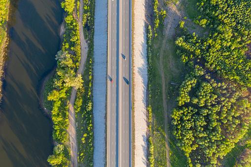 Road night aerial