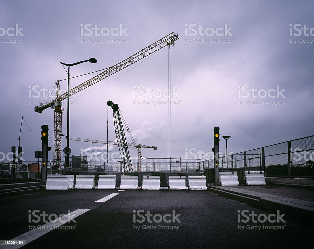 Road obstruction because of construction work. royalty-free stock photo