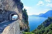 Wide angle view of the road on Amalfi Coast, Campania, Italy