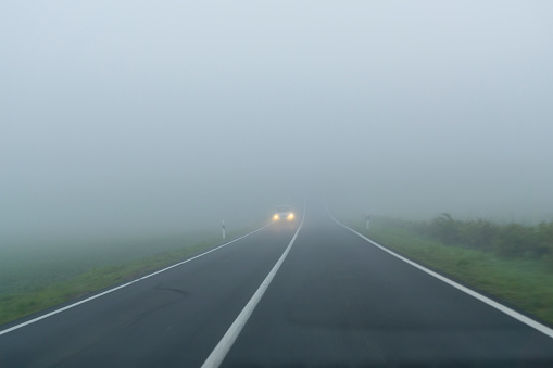 Road on an autumnal morning in the fog