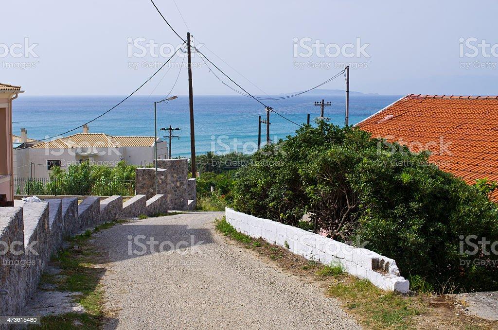 Road on Corfu island, Greece stock photo