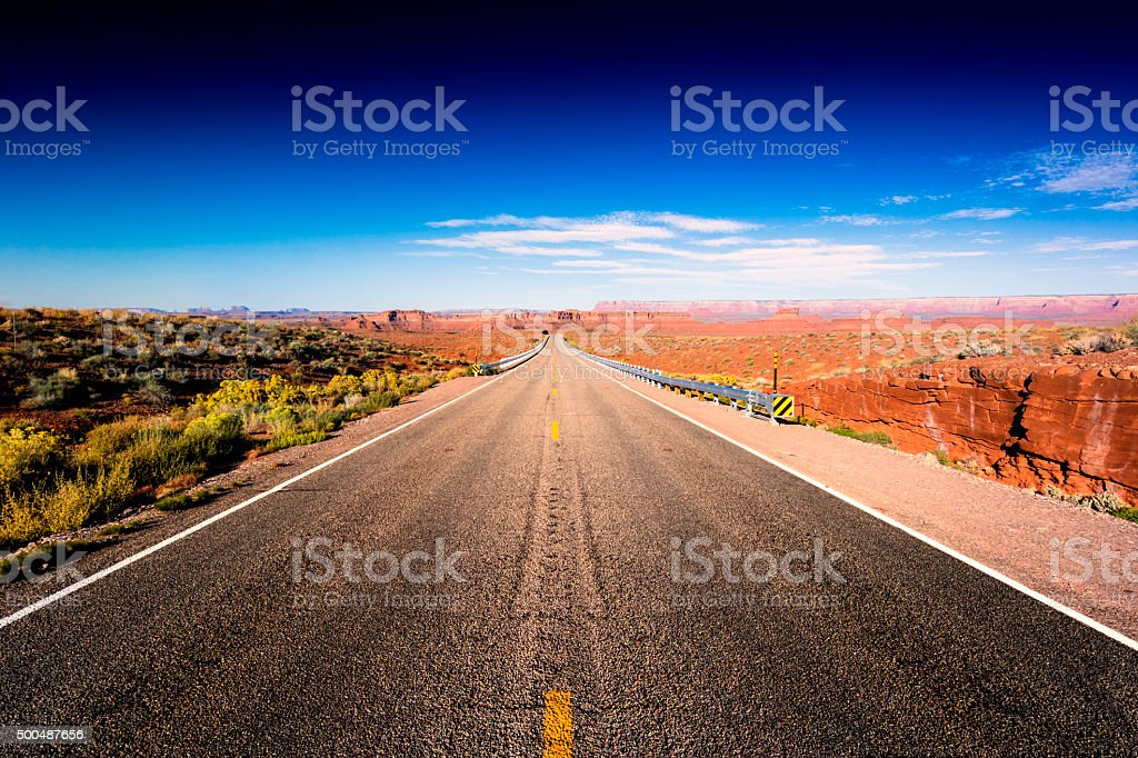Road on desert stock photo