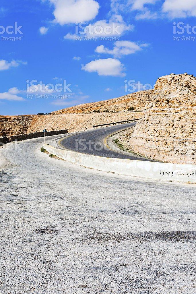 Road on mountain pass in Jordan stock photo