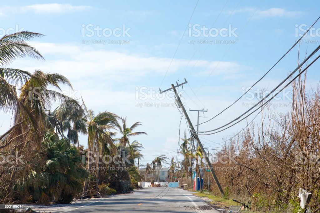 Road on Ramrod Key, Florida in the aftermath of Hurricane Irma stock photo