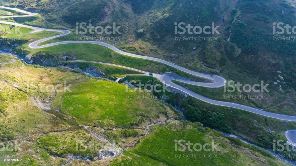 Road on San Bernardino pass stock photo