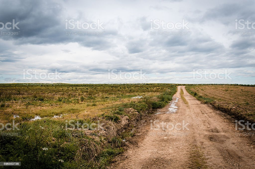 Road on the countryside in Spain stock photo