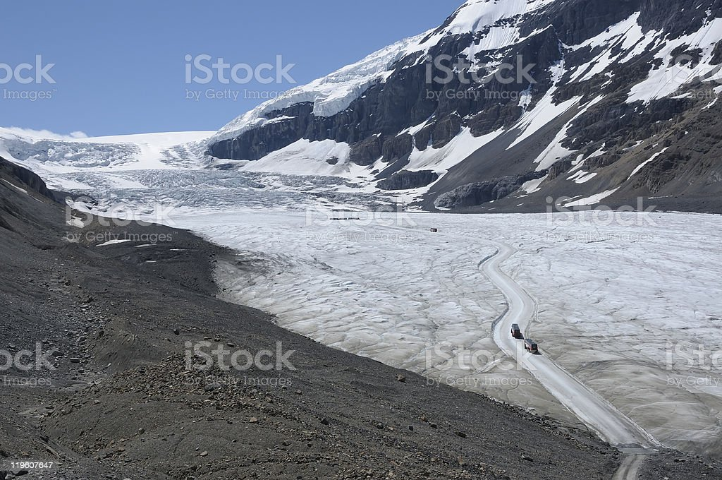 Road on the glaciar in Columbia Icefields stock photo