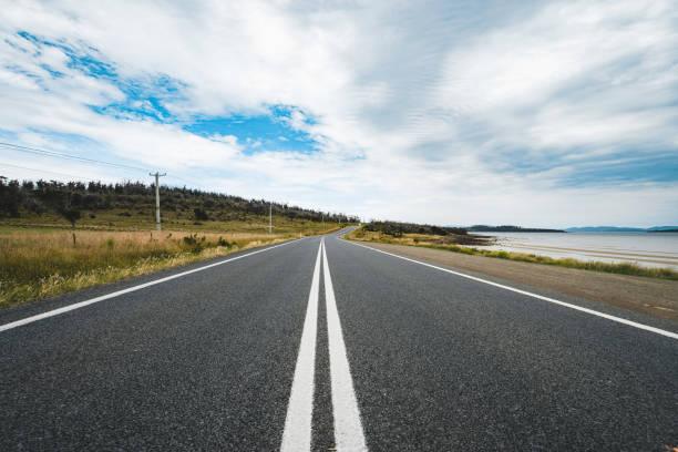 Road on the island of Tasmania stock photo