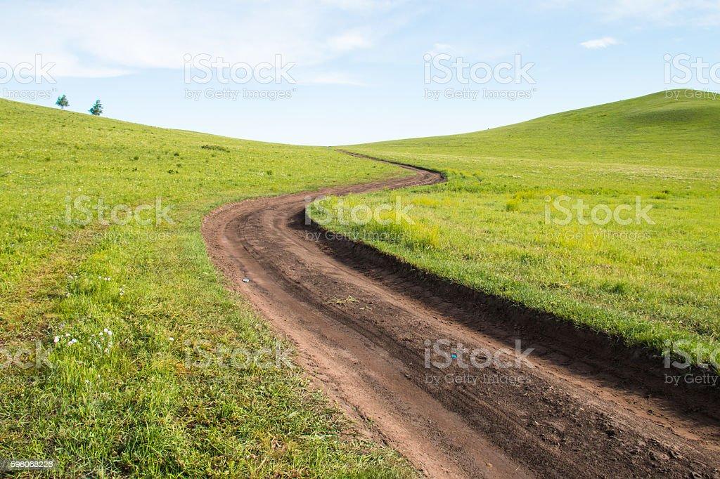 Road on the prairie royalty-free stock photo